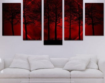 Red Forest Canvas Art, Forest Wall Art,Forest Large Canvas Print, Forest Canvas Print, Forest Painting, Forest Wall decor