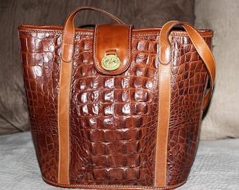 """Vintage BRAHMIN Brown Leather """"Croc"""" Handbag Purse - Bucket Shoulder Bag"""