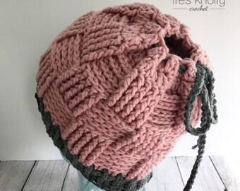Pink and grey messy bun beanie, messy bun hat, ponytail beanie, pink and grey ponytail hat