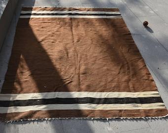 Brown and Black Combination Vintage Kilim Rug 4.2 ft x 6.2 ft Free Shipping Turkish Kilim Rug Striped Turkish Rug Home Decor Antique Kilim