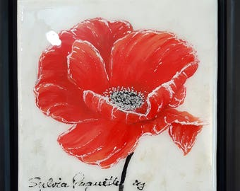 """Coquelicot 6"""" x 6"""" acrylique sur toile au fini époxy avec encadrement/Poppy 6 in x 6 in acrylic canvas with glossy finish and frame included"""