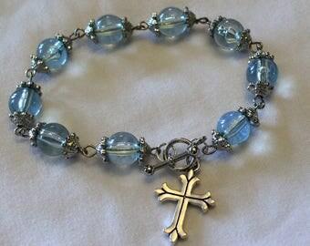Aquamarine Blue Glass Religious Bracelet