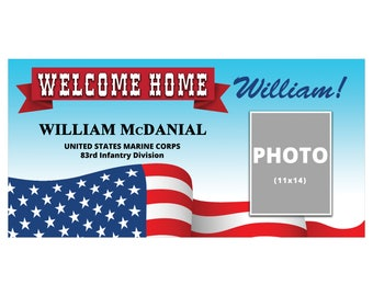 Military Welcome Home Photo Banner 4'x2' // Veteran Returning Banner // Military Homecoming Backdrop // Army Navy Marine Homecoming Banner