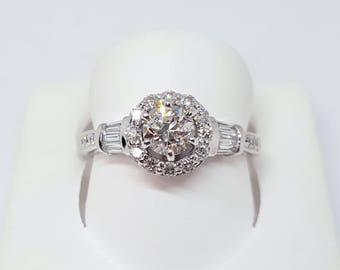Vintage 14K White Gold Round Diamond Halo Engagement Ring Size 6.5