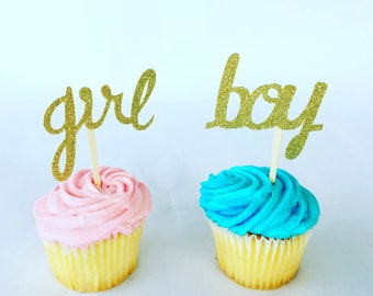 Gender Reveal Cupcake-Gender Reveal Cupcake Topper - Gender Reveal Party Decorations- Gender Reveal Party Supplies Gender Reveal Party Decor