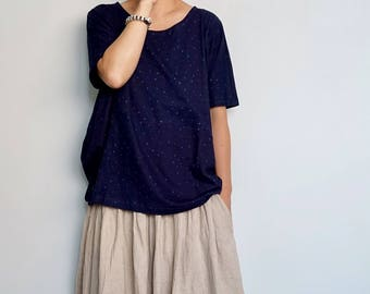 Indigo Cotton Jersey Tee With Star Print-Patchwork Cotton Jersey Top