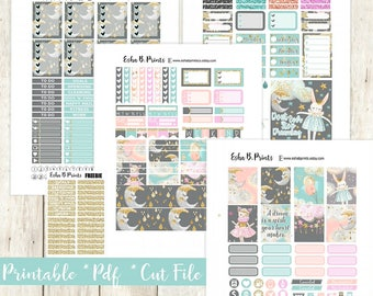 Dreamland Printable Planner Stickers/Weekly Kit/For Use with Erin Condren/Cutfiles Fall September Dreams Lullaby Moon Night Stars Magic TN