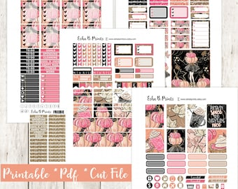 Pumpkinfest Printable Planner Stickers/Weekly Kit/For Use with Erin Condren/Cutfiles/Fall July Glam Pumpkin Glitter Leaves Coffee