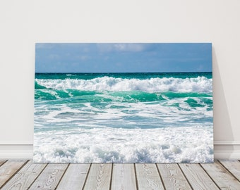 the atlantic waves cornwall  Canvas Print Wall decor for home or office (Interior Decor) beach seascape water. Ideal gift birthday present