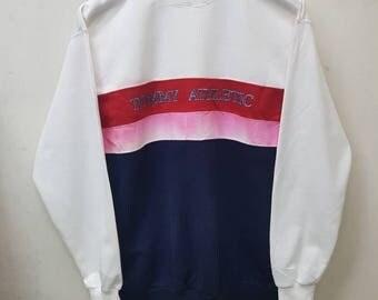 Rare!! Vintage Tommy Athletic Big Logo Sweatshirts Jumper Pullover Nice Design Medium Size