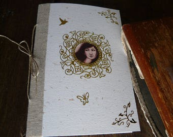 Small notebook with illustration, linen, gold embellishments