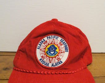 Alaska Pacific Seafoods Kodiak Cap Hat Red Corduroy Creased Trucker Braid Snapback