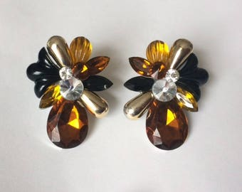 Vintage 1970's Brown Amber Black Gold Rhinestones Large Statement Clip On Earrings