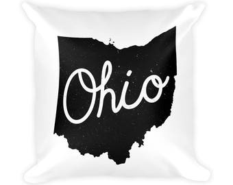 """OHIO Typography Pillow 18""""x18"""", Ohio Pillow, Ohio Art, Ohio Gift, Ohio Print, Ohio Illustration, Vintage, Ohio Decor, Ohio Map, Ohio Decor"""