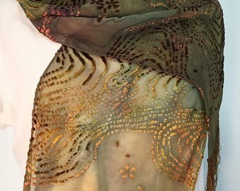 Golden Burnout Velvet Scarf, Beaded Path Design with Fringe