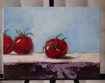 Picture on canvas Oil Paintings Still life Tomatoes Chic picture Tomatoes as real Wall Art Great Art