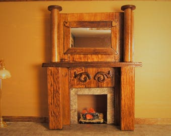 OOAK Miniature 1:12 Scale Lighted Wooden Victorian Fireplace Mantel with Mirror