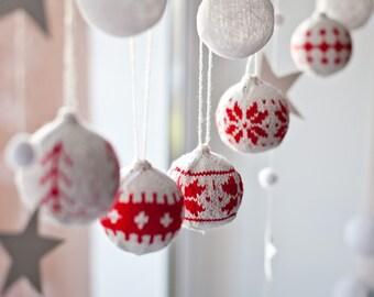Set of 6 x-mas balls X-mas decorations Christmas decorations Christmas balls Knit balls Knit Christmas decor Christmas ornaments