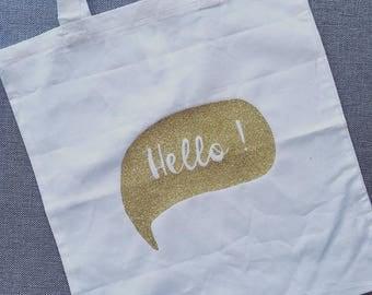 "Totebag white organic cotton with message ""Hello"""