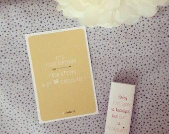 mustard birthday card: It's your birthday! 1000 kisses, wine & chocolate!