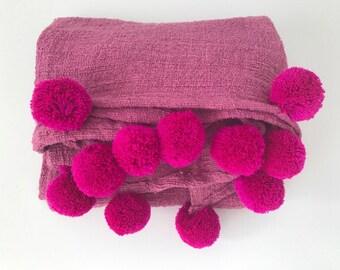 magenta Pom Pom blanket