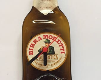 Upcycled Beer Bottle Clock, melted beer bottle, Birra Moretti, gifts for him, man cave decor