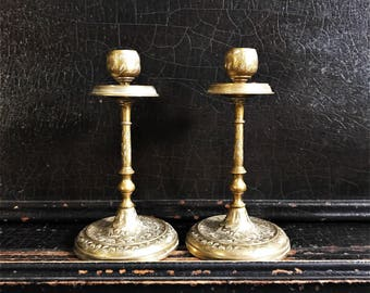 Vintage Brass Candlesticks | Candle Holders | Set Of 2 | 6.5""