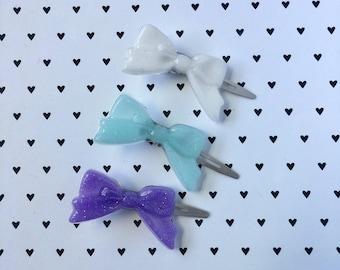 Set of 3 - Hair clips - kawaii hair accessories - Resin hair clip - Resin bows