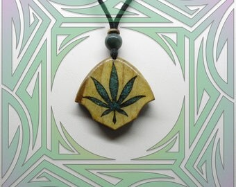 Maple Cannabis Necklace with Chrysocolla