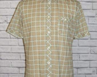 "Size M 41"" vintage 60s short sleeve stretch shirt green/white check print (HZ96)"