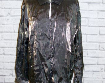 Plus size 20 vintage 90s long sleeve loosefit party shirt shimmery fabric (HX85)