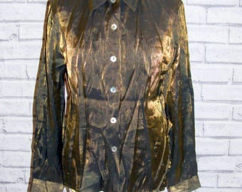 Size 14 vintage 90s long sleeve semi fitted party shirt shimmery fabric (HX84)