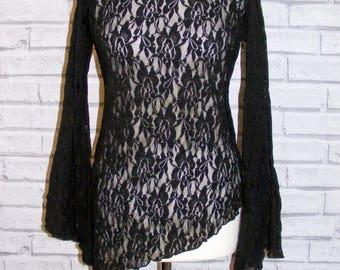 Size 16 vintage 90s flare sleeve asymmetric hem top black stretch lace (HT84)
