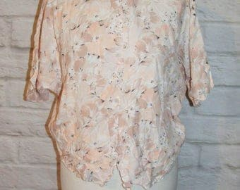 Size 12 vintage 80s batwing oversize crop blouse round collar pink floral (HE70)