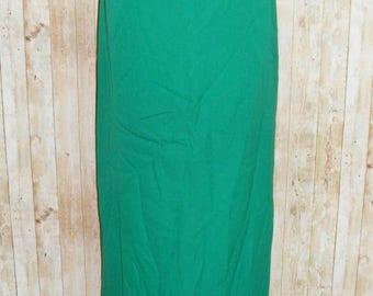 Size 12-14 vintage 70s a line full length maxi skirt rear split green (HK50)