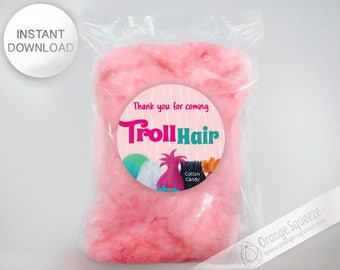 PERSONALIZED Trolls Cotton Candy Label, Stickers, Trolls Hair, Trolls Theme, Trolls Party, Trolls Favor labels, Birthday Party