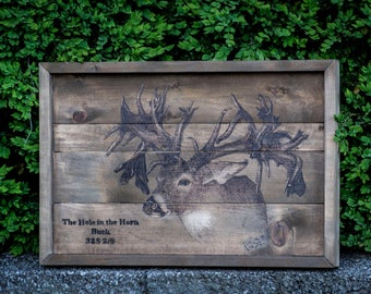 Hole in the Horn Buck Woodburned-FREE US SHIPPING