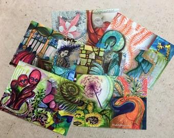 Set of 3 Art Postcards / Set 1 / 100 day project