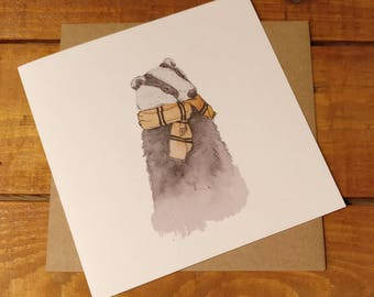 Harry Potter inspired Hufflepuff card  watercolour design greetings card for any occasion