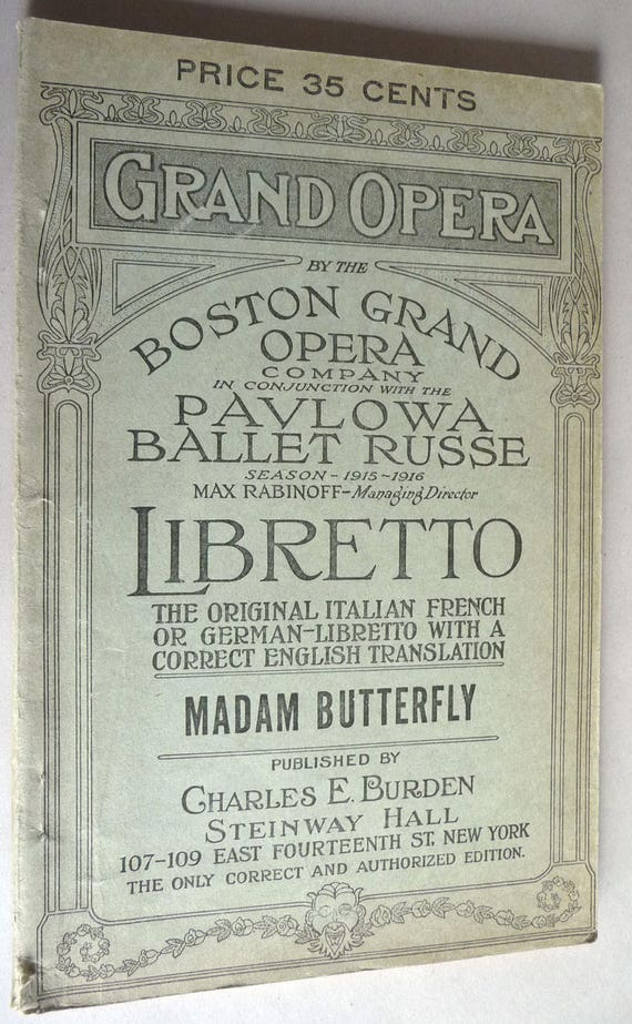 Madame Butterfly English Italian Libretto 1915 Heilig Theater Portland OR Add-In