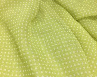Handmade chiffon green polka dot scarf