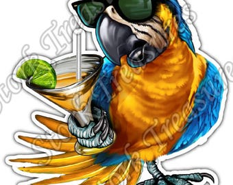 Florida Paradise Parrot Tropical Margarita Car Bumper Vinyl Sticker Decal