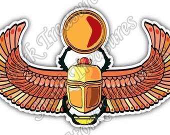 Scarab Beetle Ancient Egypt Scarabaeus Sacer Car Bumper Vinyl Sticker Decal