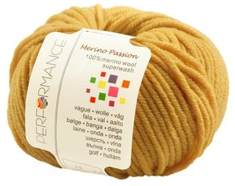 10 x 50g knitted yarn merino passion Superwash, #07 Yellow