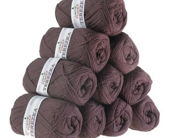 10 x 50g knitted yarn TEREZKA 100% cotton, #113 fawn