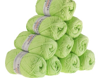 10 x 50 g knitting wool TEREZKA 100% cotton, #117 yellow-green