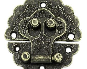 10 x chest closure chest Castle 4, 1x4cm antique brass snap