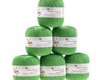 6 x 100g thread cotton Harmony #333 Green