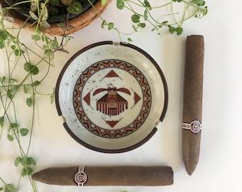 Vintage ceramic ashtray /  vintage pottery ashtray / vintage stoneware ashtray / mid century ceramic ashtray / Native American ashtray