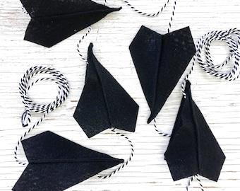 Black and White Felt Paper Airplane Garland | Airplane Party Decor | Black and white | Garland for Boys | Boy Room Decor | Boy Nursery Decor